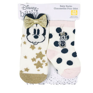 Disney Store Baby 2 Pk Pink Gold Crew No Slip Minnie Mouse 3D Bow Sock 0-6 M NEW
