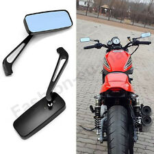 UNIVERSAL BLACK RECTANGLE MOTORCYCLE REARVIEW MIRRORS FOR HONDA SUZUKI 8MM 10MM
