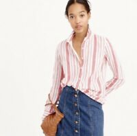 J.Crew Womens Classic Popover Shirt Size 4 Striped Gauze White Red Shirt Top