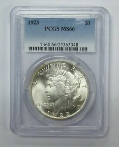 1923 Peace Dollar PCGS MS66 Blast white both sides
