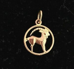 NEW Capricorn 9ct Yellow Gold Zodiac Pendant 375 Horoscope Charm Goat 9KT Carat