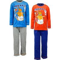 Neu Samt Pyjama dicker Schlafanzug Jungen Planes blau orange 98 104 116 128 #56