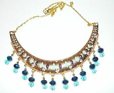 HANDCRAFTED UNIQUE STATEMENT COLLAR NECKLACE IN GOLD, NAVY BLUE & TURQUOISE
