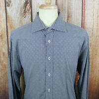 Men's Bugatchi Uomo Shaped Fit Black White Micro Check L/S Shirt Size XL
