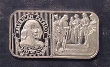 Vintage Silver Mint American Patriot Benjamin Franklin 20 Gram Silver Art Bar