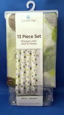 Comfort Bay Shower Liner Curtain & 12 Hooks - Green Brown Dots - PEVA Odorless