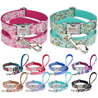 Personalised Dog Collar and Lead Set Small Medium Large Puppy ID Collar Egraved