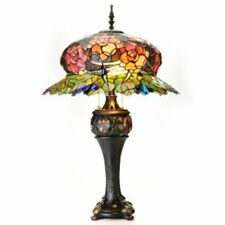"""Tiffany-Style 32"""" Midnight Rose Double Lit Stained Glass Table Lamp"""
