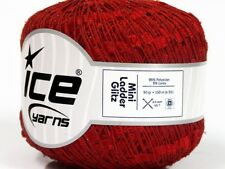 Red Mini Ladder Glitz Ribbon Yarn #58131 Ice Red w/ Metallic Accent 50 Gram