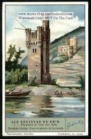 Ehrenfels Castle Chateau Rhein River Germany 1930s Trade Ad Card