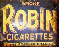 Smoke Robin Cigarettes Advert VINTAGE ENAMEL METAL TIN SIGN WALL PLAQUE