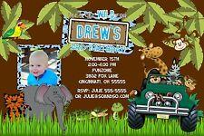 Jungle Safari Birthday Party Invitation Any Colors Add Photo Let's Get Wild