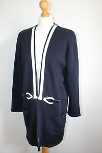 Vintage 80s Style Long Line Navy Long Sleeve Cardigan Size 10/12 Autumn Winter