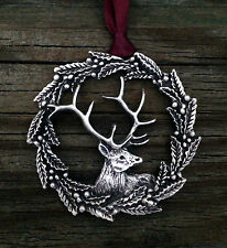 Holly Wreath Elk Pewter Christmas Ornament