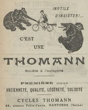 Z9417 Cycles THOMANN -  Pubblicità d'epoca - 1921 Old advertising