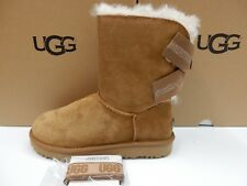 UGG WOMENS BOOTS CUSTOMIZABLE BAILEY BOW SHORT CHESTNUT SIZE 10