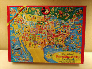United States Floor Puzzle Walt Disney Vintage USA Jigsaw Puzzle Jaymar Complete