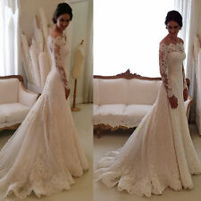 2018 Lace Sweetheart Mermaid White/Ivory Bridal Wedding Dress Custom All Size
