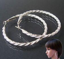 Damen Ohrringe Silber Creolen 5cm Modeschmuck Ohrschmuck Schmuck Party O2149