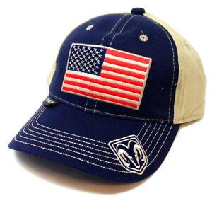 DODGE RAM USA FLAG LOGO HAT CAP ADJUSTABLE CURVED BILL HEMI RETRO BEIGE BLUE NWT