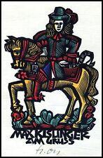 Ott Herbert X2 Exlibris Postman Horse Pferd Cheval Cavallo s946