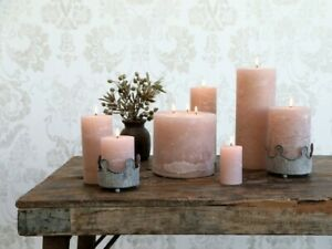 Macon Dusty Rose Pillar Candles, Light Pink Paraffin Wax Rustic Candle, 6 Sizes