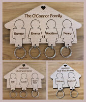 Personalised Wooden Key Holder Family Keyrings New Home Gift House Warming