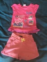 Peppa Pig T Shirt Girls 5-6 Yrs Pink And Pair Of Shorts