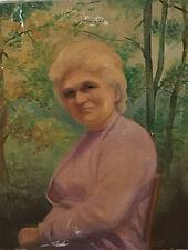 Sup. portrait d'une femme dans un jardin, fin XIXè, huile sur toile ; bon état