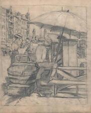 Julius Rosenbaum Disegno a matita bancarella mercato c1910 Espressionismo Tedesco