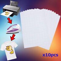 10pcs T Shirt A4 Transfer Paper Iron On Heat Press Light Fabrics Inkjet Prints L