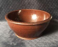 19th Century Antique Pennsylvania Redware Manganese Speckled Glaze Large Bowl