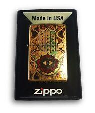 Zippo Custom Lighter Fuzion Hamsa Hand Brush Brass Pocket New