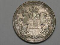 German States Coin: 1914-J Hamburg, Germany 3 Marks (Cleaned).  #11