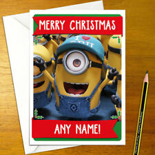 DESPICABLE ME Personalised Christmas Card - movie minions gru happy xmas holiday