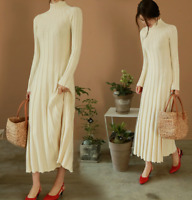 Women High Neck Long Sleeves Casual Winter Long Slim Fit Knitted Sweater Dresses