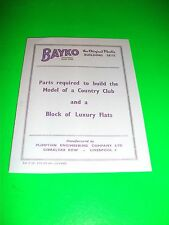 BAYKO LIST OF PARTS REQUIRED TO BUILD MODEL OF COUNTRY CLUB & BLOCK OF FLATS