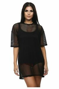 Womens Fishnet or Sheer Mesh Oversized  Dress Longline T-Shirt Baggy Top