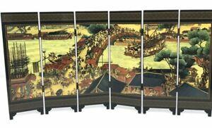 Asian Table Screen 6 Panel Symphonic Picture Riverside Scene @ Qingming Festival