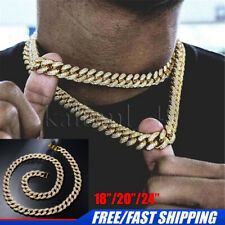 HipHop Bling Chains Jewelry Men Iced Out Chains Necklace Gold Silver Miami Cuban