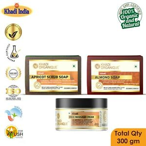 Almond Apricot Soap Cream Khadi 100% Organic Pure Herbal Exotic Scent Combo