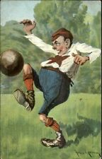 Arko Grimm - Goofy Looking Guy Playing Soccer/Football c1910 Postcard