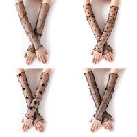 Sexy Women line Lady Lace Flower Fashion Shading Long Fingerless Bridal Glove EO