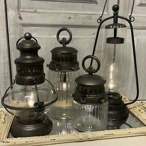 Battery Old Fashioned French Stable Lantern Vintage Glass Metal Table Country