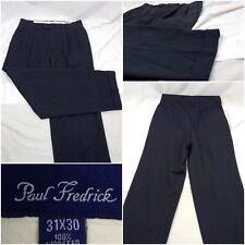 Paul Fredrick Pants 30 Gray Pleat 31 Inseam 30x31 100% Wool EUC A341
