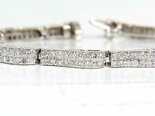 █$9,500 VIDEO 3.50CT DIAMONDS DECO WAVE LINK TENNIS BRACELET 14KT WHITE GOLD █