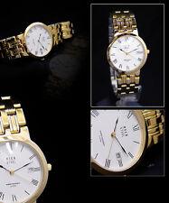 Luxury Osco Men's Watch,gewölbtes Glass, Flat, Stainless Steel Gold-Plated,