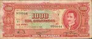 BOLIVIA 1000 BOLIVIANOS 1945. F-VF CONDITION