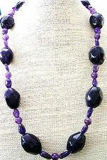 Genuine Amethyst Nugget Bead Necklace GP Toggle Clasp 24 inches long