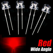 100pcs x 5mm straw hat Red LED Wide Angle Red